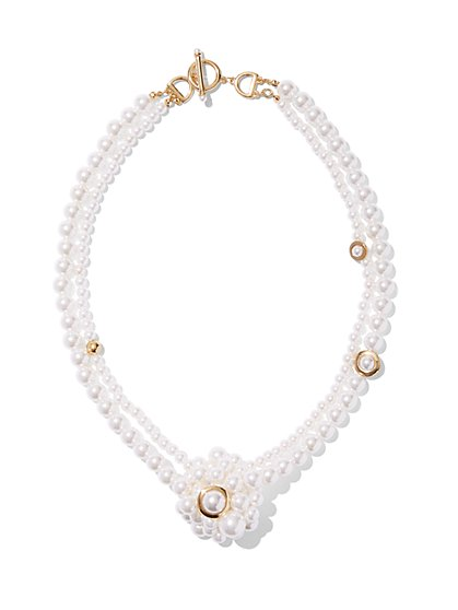 Eva Mendes Collection - Faux-Pearl Knot Necklace  - New York & Company