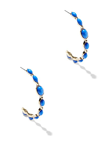 Eva Mendes Collection - Faux-Stone Hoop Earring  - New York & Company
