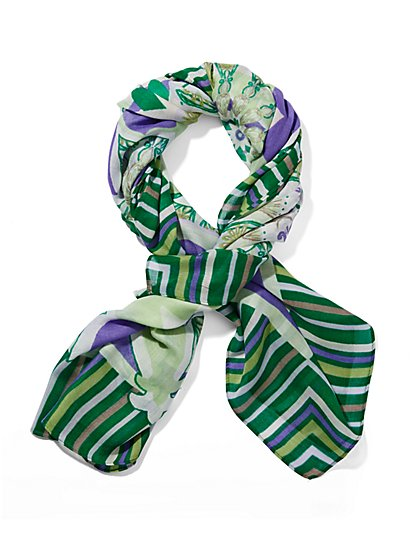 Eva Mendes Collection - Floral Striped Scarf  - New York & Company