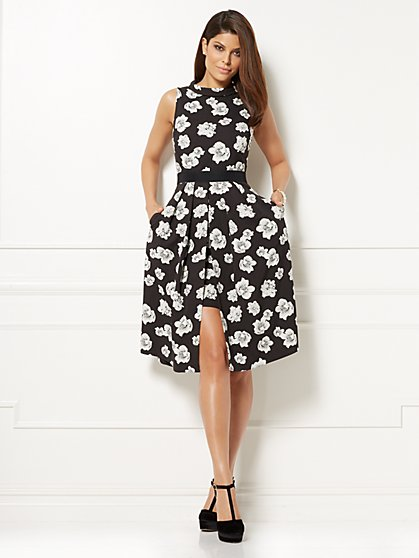 Eva Mendes Collection - Freya Flare Dress - Black Floral - New York & Company