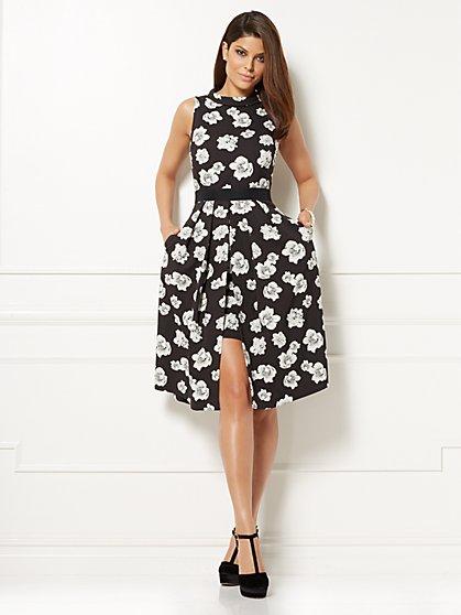 Eva Mendes Collection - Freya Flare Dress - Black Floral - New York & Company