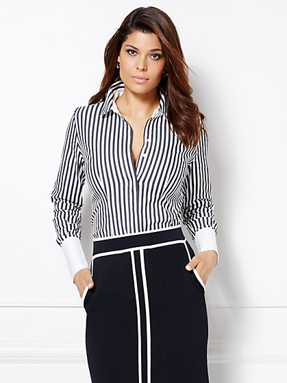 Eva Mendes Collection - Gabriella Striped Shirt  - New York & Company