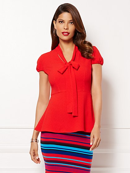 Eva Mendes Collection - Gemma Peplum Tie-Front Blouse  - New York & Company