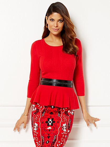 Eva Mendes Collection - Giselle Peplum Sweater  - New York & Company