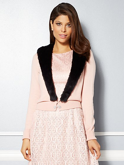 Eva Mendes Collection - Gladys Fur-Trim Cardigan - New York & Company