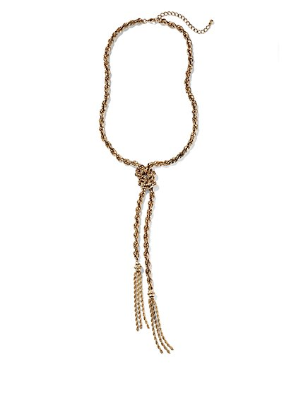 Eva Mendes Collection - Golden Lariat Necklace - New York & Company