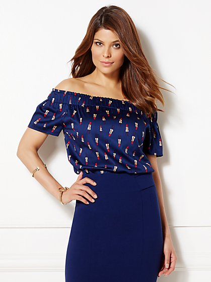 Eva Mendes Collection - Inez Off-The-Shoulder Blouse - Lipstick Print  - New York & Company