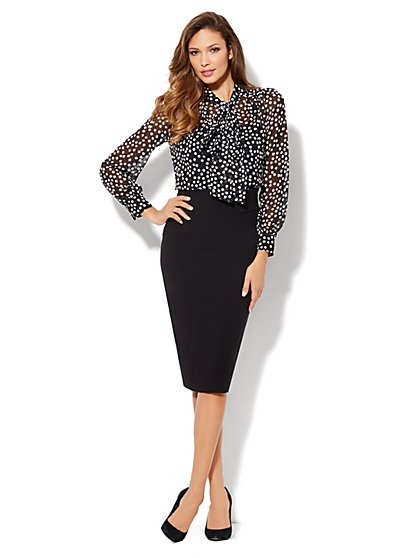 Eva Mendes Collection - Isabella Bow Blouse - Polka Dot - New York & Company