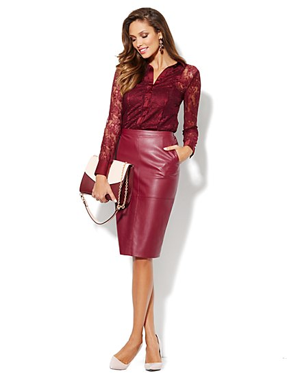 Eva Mendes Collection - Jolie Faux-Leather Skirt - New York & Company