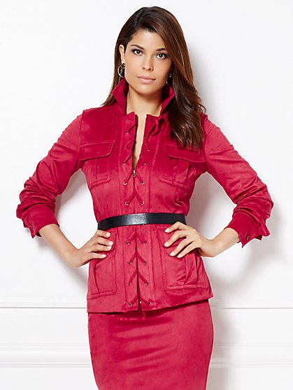 Eva Mendes Collection - Julianne Ultra-Suede Lace-Up Jacket  - New York & Company