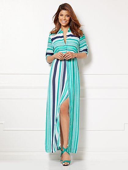 Eva Mendes Collection - La Bohème Dress - Stripe - New York & Company