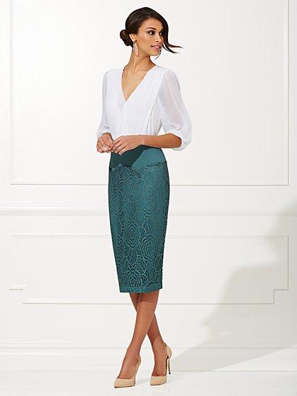 Eva Mendes Collection - Liya Shirred  Wrap Bodysuit - New York & Company