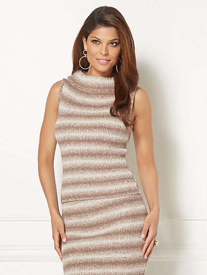 Eva Mendes Collection - Luana Stripe Sleeveless Sweater - New York & Company
