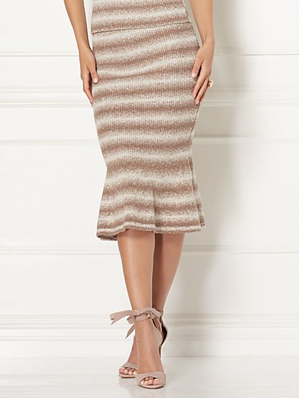 Eva Mendes Collection - Luana Stripe Sweater Trumpet Skirt - New York & Company