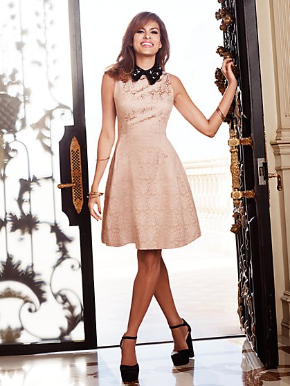 Eva Mendes Collection - Maria Jacquard Dress - Embellished Collar - New York & Company