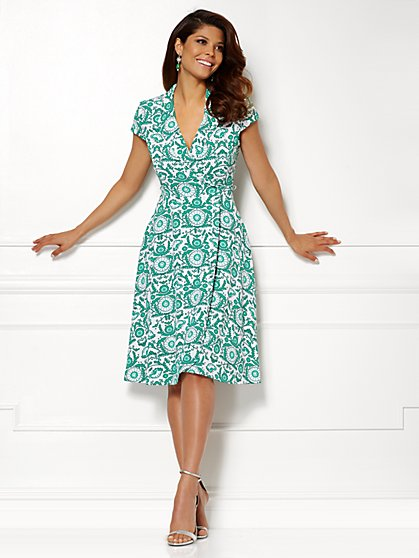 Eva Mendes Collection - Marina Wrap Dress - Print  - New York & Company