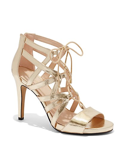 Eva Mendes Collection - Metallic Strappy Sandal  - New York & Company