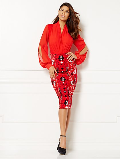Eva Mendes Collection - Mila Open-Sleeve Bodysuit  - New York & Company