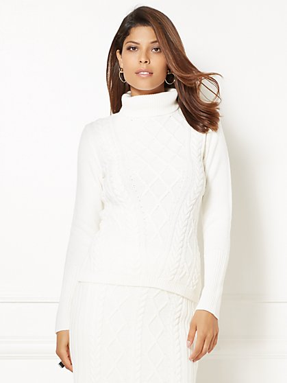 Eva Mendes Collection - Mixed-Stitch Turtleneck Sweater  - New York & Company
