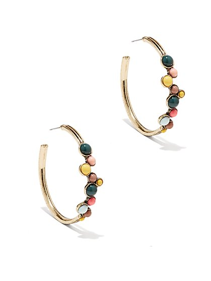 Eva Mendes Collection - Multicolor Beaded Hoop Earring   - New York & Company