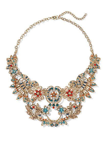 Eva Mendes Collection - Multicolor Filigree Bib Necklace  - New York & Company