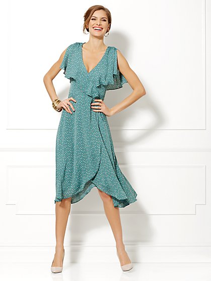 Eva Mendes Collection - Natalie Polka-Dot Capelet Dress  - New York & Company