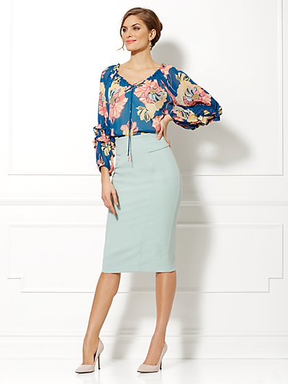 Eva Mendes Collection - Paulina Floral Chiffon Blouse  - New York & Company