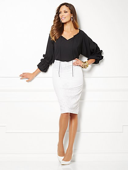 Eva Mendes Collection - Paulina Peasant Blouse - Solid  - New York & Company