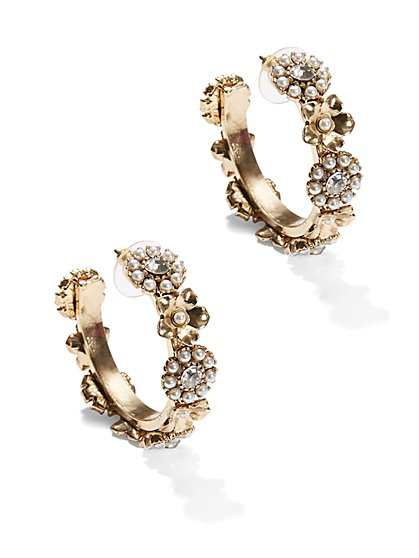 Eva Mendes Collection - Pearl Flower Hoop Earring  - New York & Company
