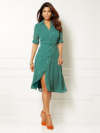 Eva Mendes Collection - Pia Shirtdress - Polka Dot  - New York & Company