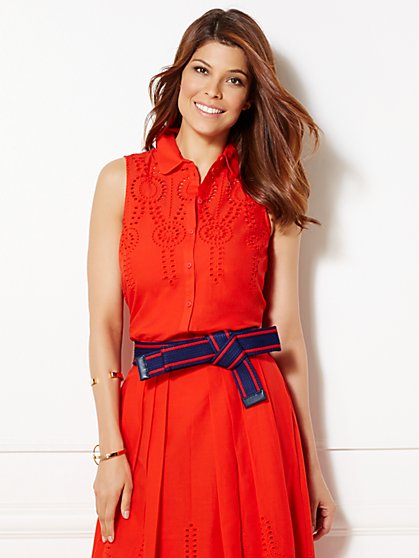 Eva Mendes Collection - Poppy Eyelet Blouse  - New York & Company