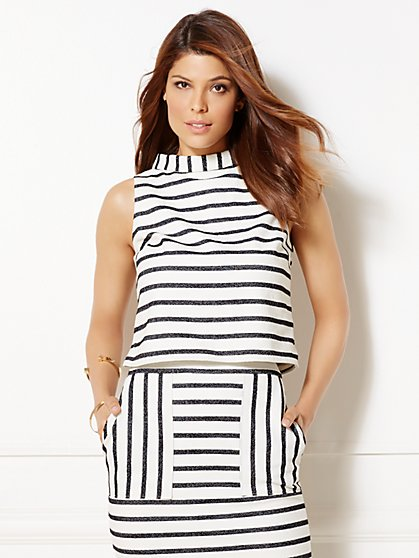 Eva Mendes Collection - Reese Crop Top - Stripe  - New York & Company