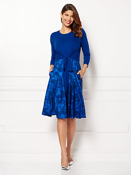 Eva Mendes Collection - Romy Tie-Front Dress - Adriatic Royal  - New York & Company