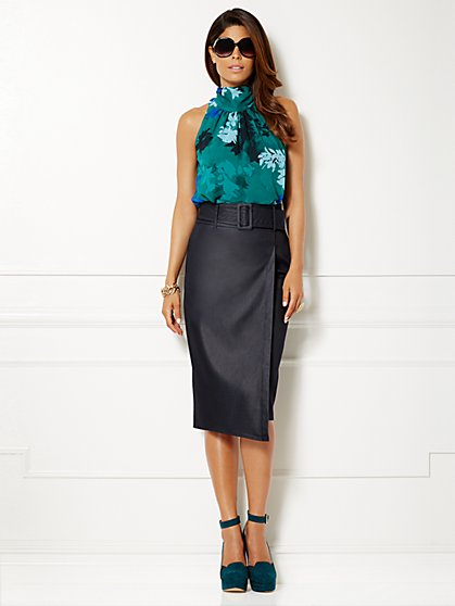 Eva Mendes Collection - Sabrina Tie-Neck Blouse - Parker Green  - New York & Company