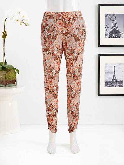 Eva Mendes Collection - Shirred Soft Pant - Heritage Rose Print