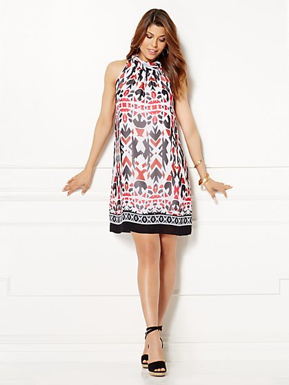 Eva Mendes Collection - Sleeveless Sabrina Dress - Aztec Print  - New York & Company
