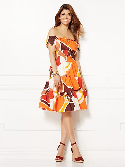 Eva Mendes Collection - Smocked Paulina Dress - Print  - New York & Company