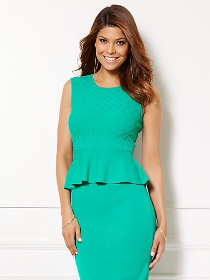 Eva Mendes Collection - Sonora Peplum Sleeveless Sweater - New York & Company