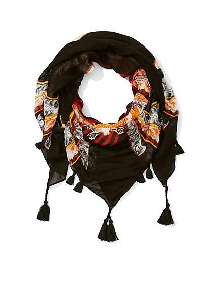 Eva Mendes Collection - Tassel-Trim Printed Scarf  - New York & Company