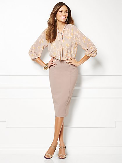 Eva Mendes Collection - Toni Tie-Neck Blouse - Ivy Print  - New York & Company