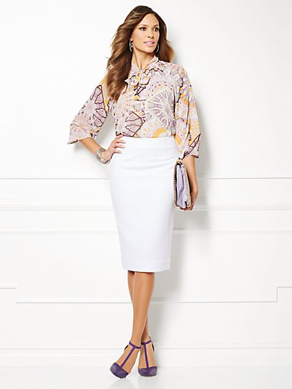 Eva Mendes Collection - Toni Tie-Neck Blouse - Kaleidoscope Print   - New York & Company