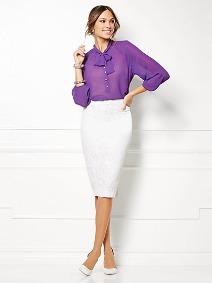 Eva Mendes Collection - Toni Tie-Neck Blouse  - New York & Company