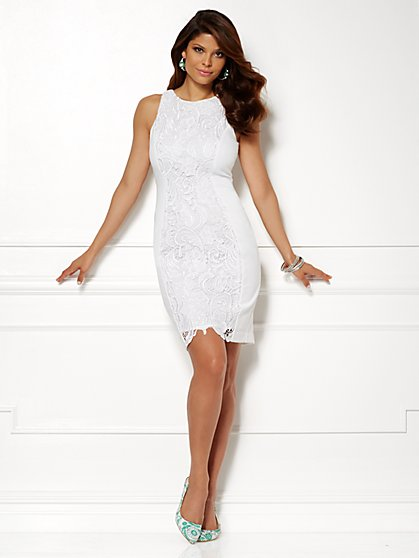 Eva Mendes Collection - Vivienne Lace Sheath Dress - White - New York & Company