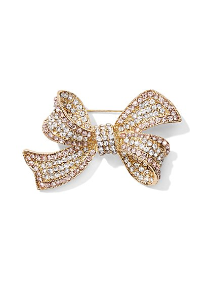Eva Mendes Party Collection - Pavé Bow Brooch  - New York & Company