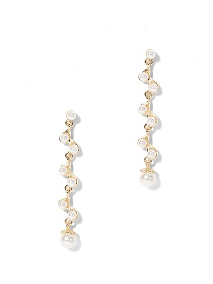 Eva Mendes Party Collection - Pearl Linear Drop Earring  - New York & Company