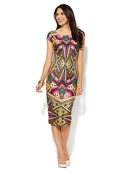 Exotic-Print Scuba Midi Sheath Dress  - New York & Company