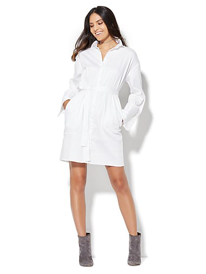 Extreme-Cuff Shirtdress  - New York & Company