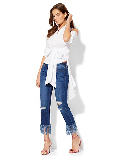 Extreme Hi-Lo Cold-Shoulder Shirt  - New York & Company