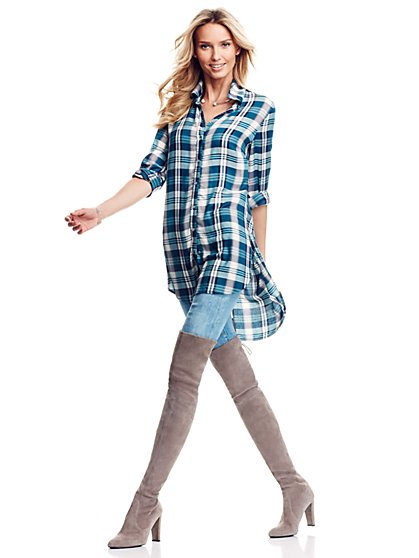 Extreme Hi-Lo Tunic - Green Plaid  - New York & Company