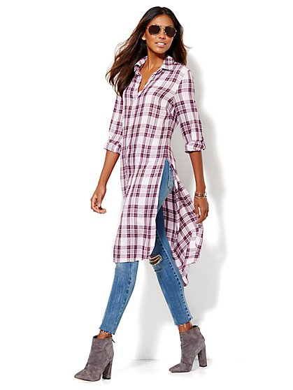 Extreme Hi-Lo Tunic  - Purple Plaid  - New York & Company